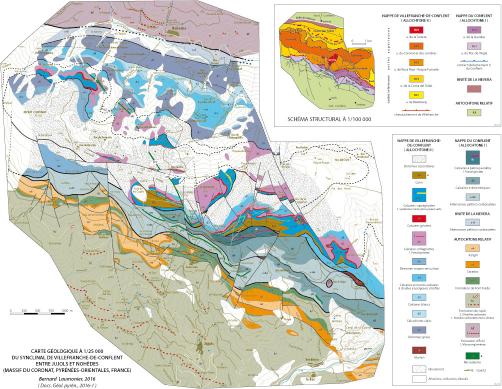 Carte Geologique A 1 25 000 Du Synclinal De Villefranche De Conflent Entre Jujols Et Nohedes Massif Du Coronat Pyrenees Orientales France Laumonier 2016 Geologie Des Pyrenees