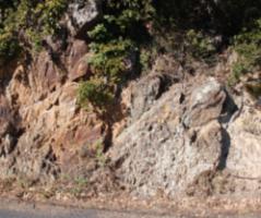 Discordance angulaire de l'Ordovicien supérieur sur le Cambrien inférieur (Formation d'Évol) dans le massif des Aspres, à l'Est du Canigou (P.-O.)